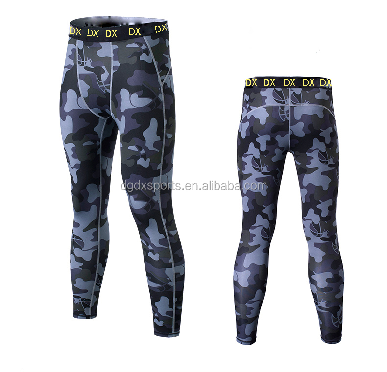 New design Mens sports camo compression running leggings