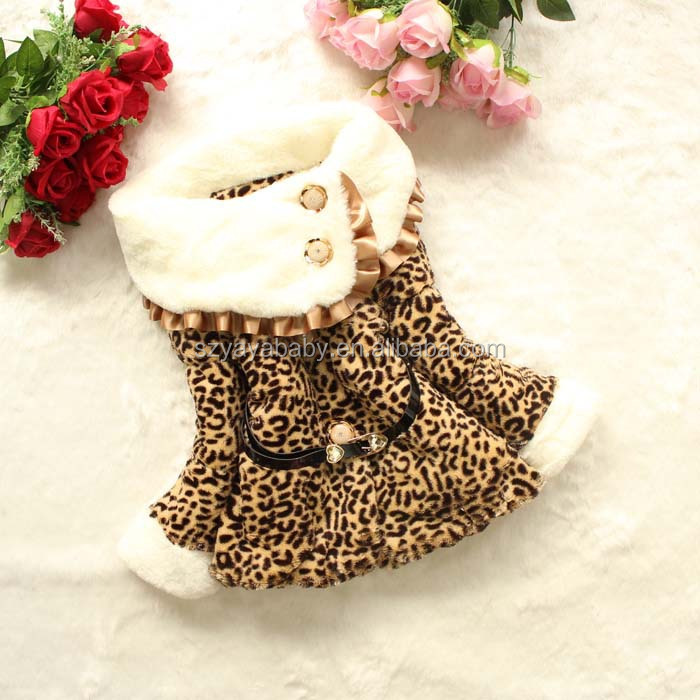 YY BWC0912 Children's coat 2016 leopard wool kids winter coats with faux fur