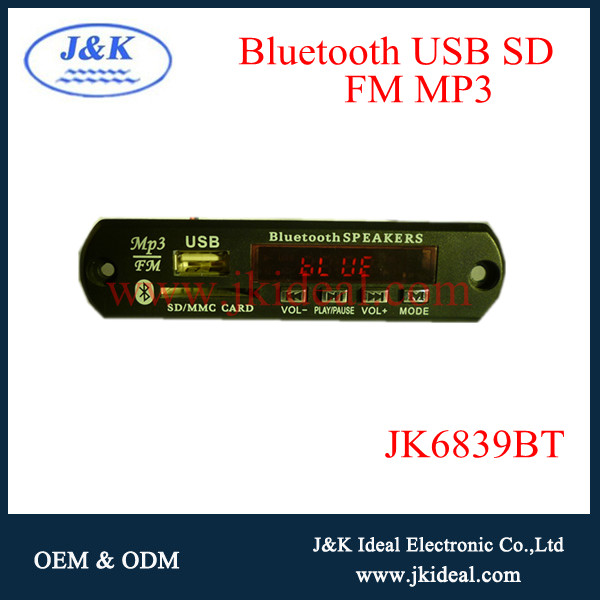JK6839BT China bluetooth mp3 player music downloads