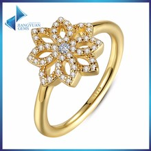 fashion flower mirco cz ring 18k gold plating ring 925 stering silver ring