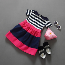 2016 fashion model kids dresses wear baby stripe dress short sleeves party dress for girls