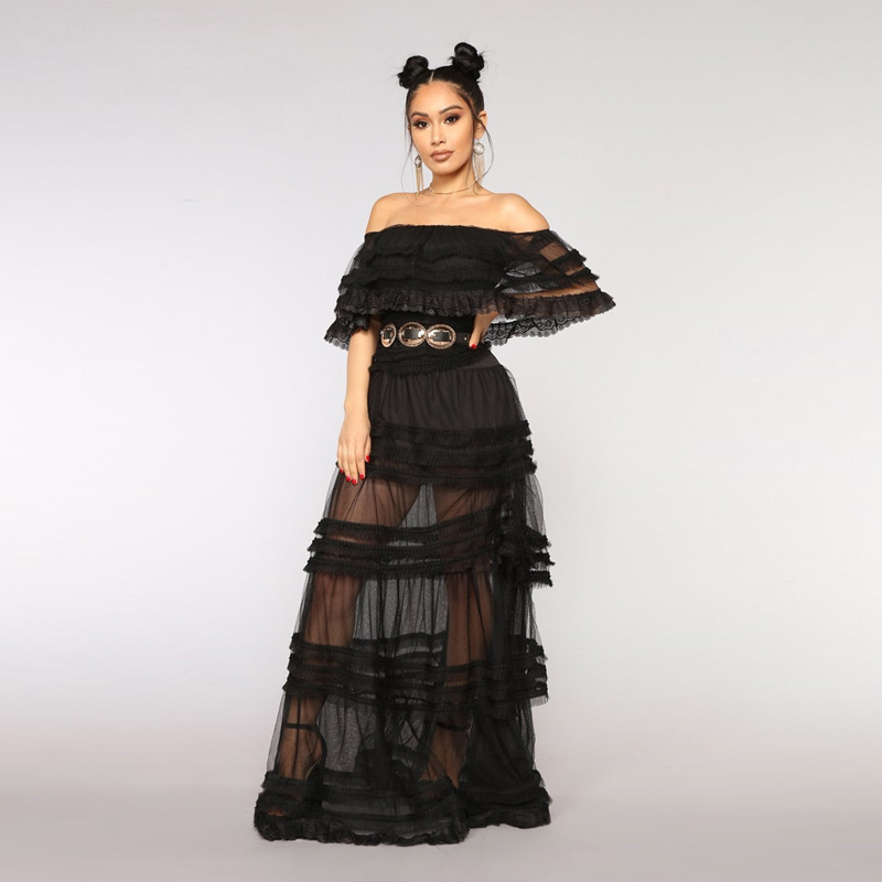 Elegant Women Ruffle Off <strong>Shoulder</strong> Black Sexy Layered Long Party Dress