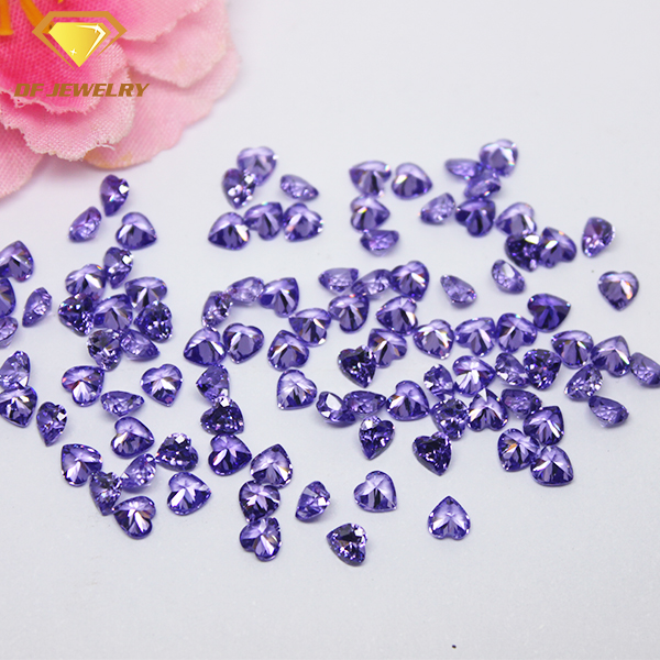 Machine Cut Heart Shape Synthetic Stone Violet CZ Gemstone