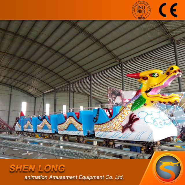 Traditional Chinese Style ! Kids Park Slide Equipment Electric Dragon Train On Ride