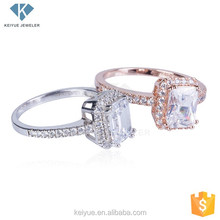 Single princess cut stone women engagement wedding ring designs silver jewelry,Wax micro-inlay