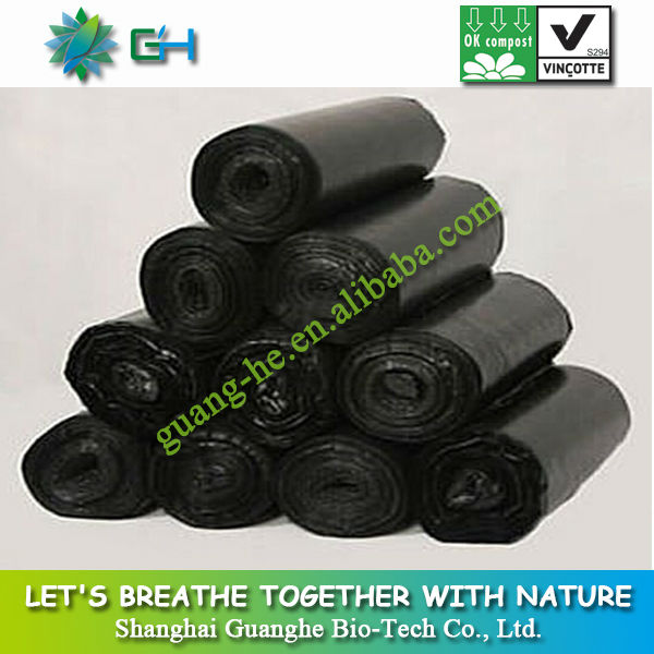 100% biodegradable plastic trash bag/Eco friendly black garbage bag for kitchen