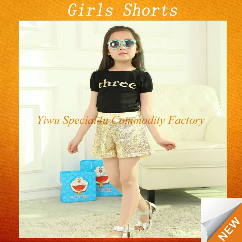 2015 Hot selling yellow baby girl sequin children shorts SFUP-084
