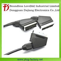 Round Male to male 21 pin Scart cable