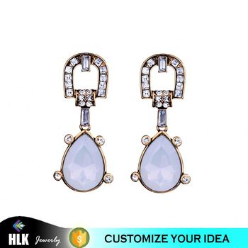 Elegant opal water drop antique earrings
