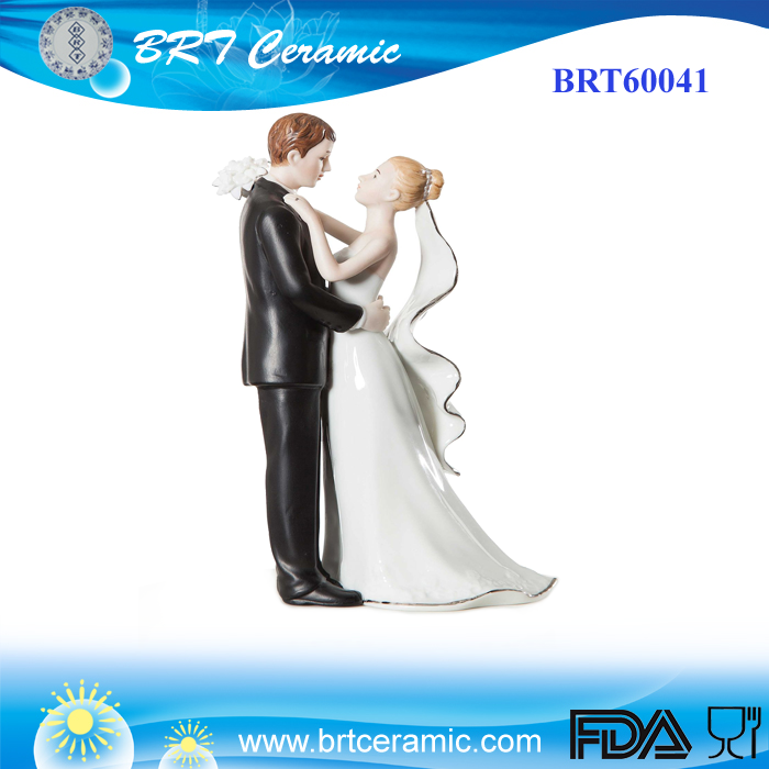 Ceramic Bride and Groom Hug In Wedding Dress Figurine