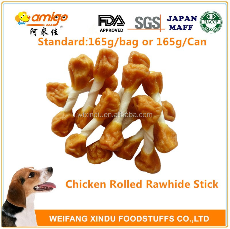 no addition pet food dog treat white munchy stick dumbbell with chicken meat