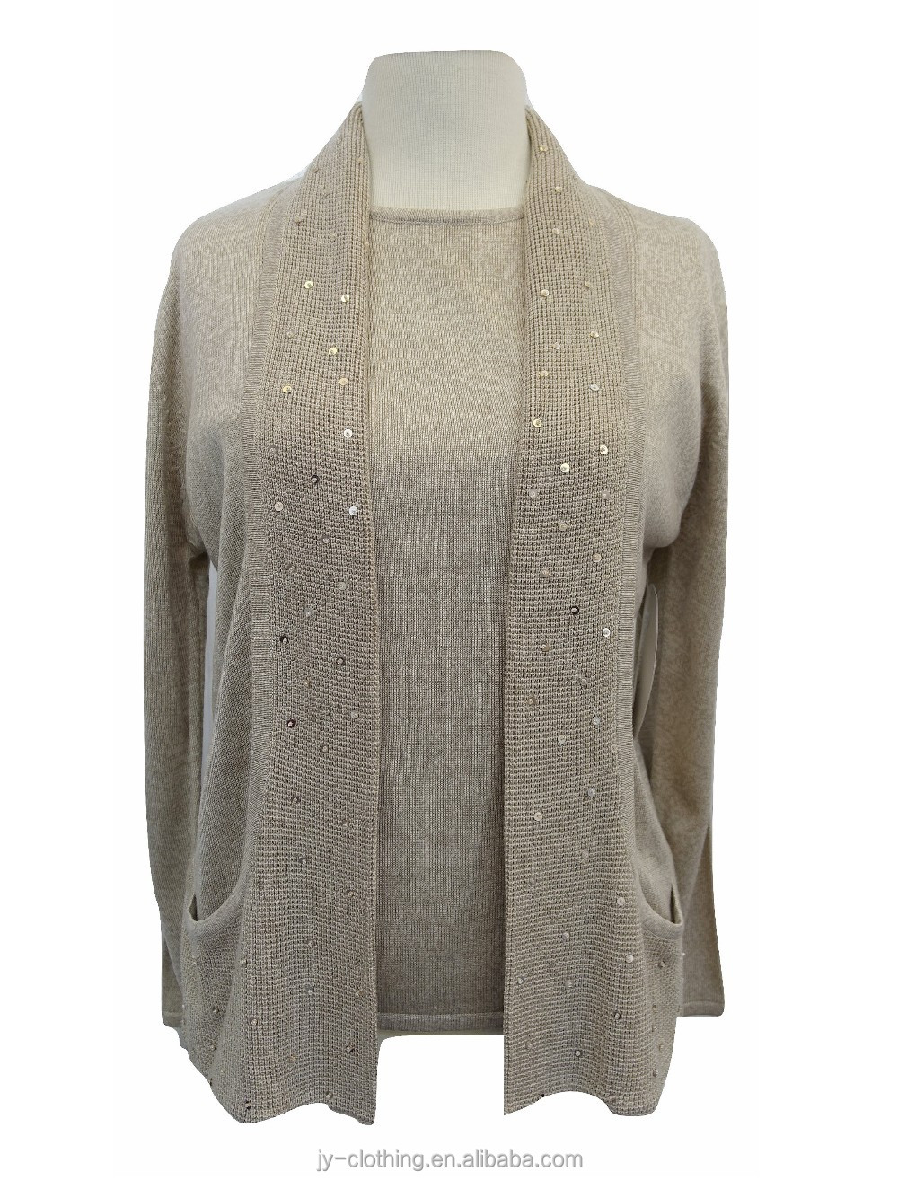 latest design long sleeve ladies cardigan melange effect knitted woman sweater with sequins beading