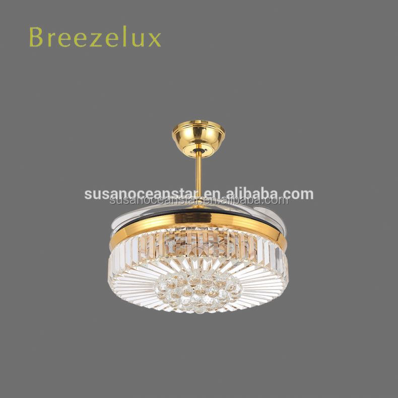 High Efficiency 220v noble glass decorative residential fan ceiling light