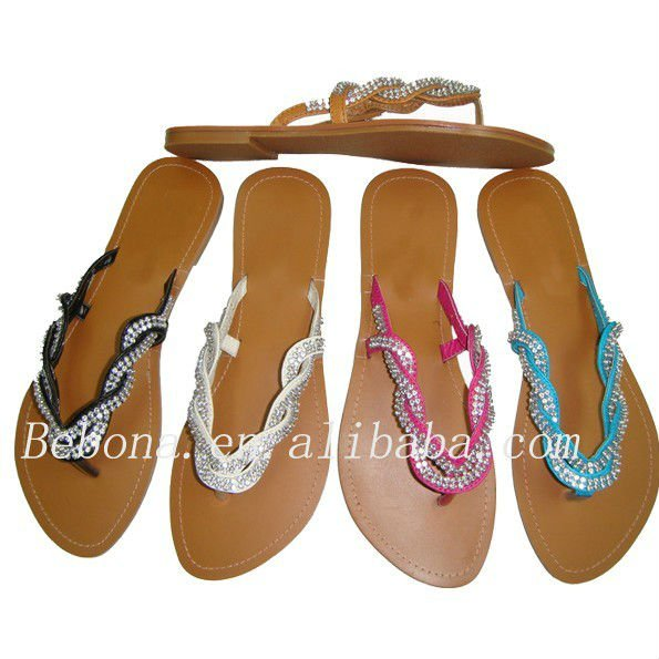 New model flat fancy diamond sandals