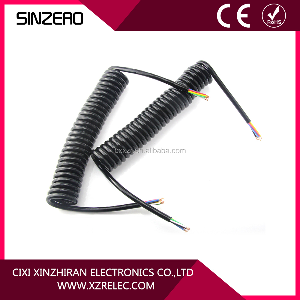 High elasticity 7 pin spiral trailer cable for semi-railer