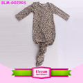 Newborn Baby Children Night Gown Toddler Long Sleeve Pictures of Latest Gowns Designs Infant Leopard Knotted Baby Gown