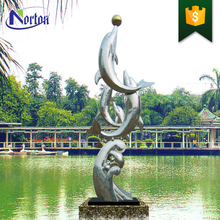 pond waterfall decoration customized stainless steel dolphin fountain sculpture NT-SS110D