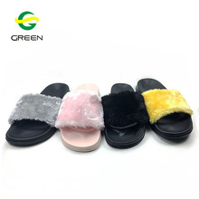 Greenshoe 2018 new fashion winter custom logo slide sandal women faux fur slipper