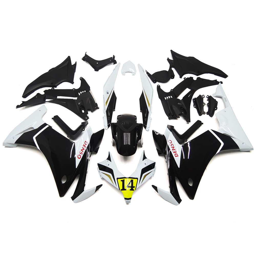 DENSO 14 White Black Injection Fairings For Honda CBR250RR 11 12 13 14 2011-2014 ABS Plastic Complete Motorcycle Fairing Kit