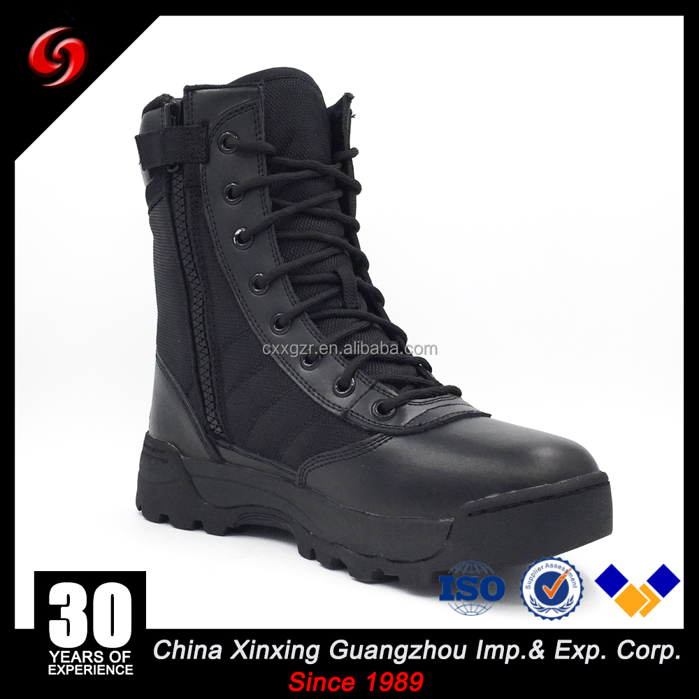 Stock SWAT Boots Classical Dural Layer Rubber EVA Outsole Military Combat Boots Army Tactical Combat Leather Boots with Zipper