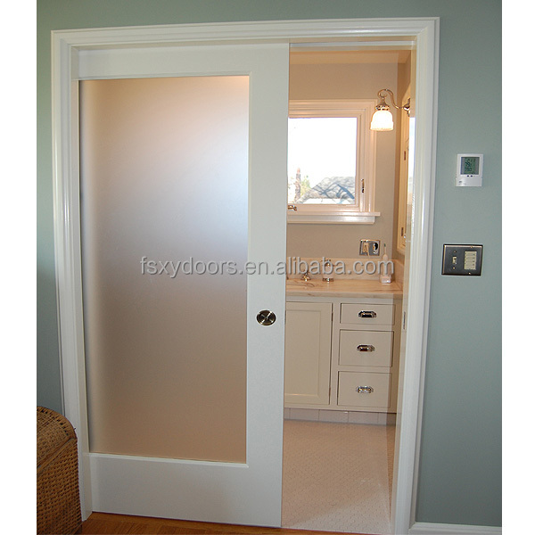 North American and Canada popular solid wood glass interior pocket doors