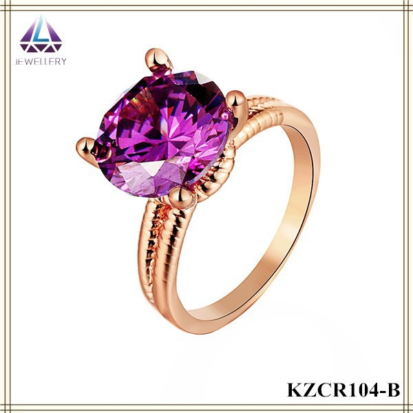 Imitation Gold Jewelry Fake <strong>Diamond</strong> Design Purple Color Rose Gold Ring