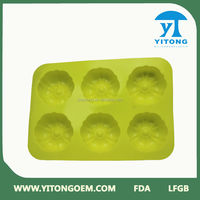 2013Yellow pumpkin shape silicone cake mold,6 PCS cake mold