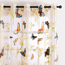Top Finel 2016 Butterfly Printed Sheer Voile Curtains