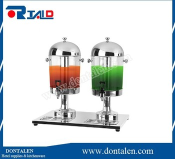 Beverage Dispenser, Double Faucet, Clear Bowl,juice dispenser