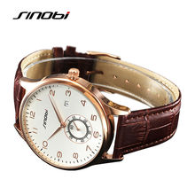 SINOBI Men's Gold Wrist Watches Single Seconds Leather Watchband Top Luxury Brand Males Geneva Quartz Clock Classic Wristwatches
