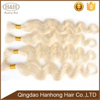 Top Quality Wholesale Price Blonde 613#Color Human Hair Weft Brazilian Bulk Hair Extensions Without Weft