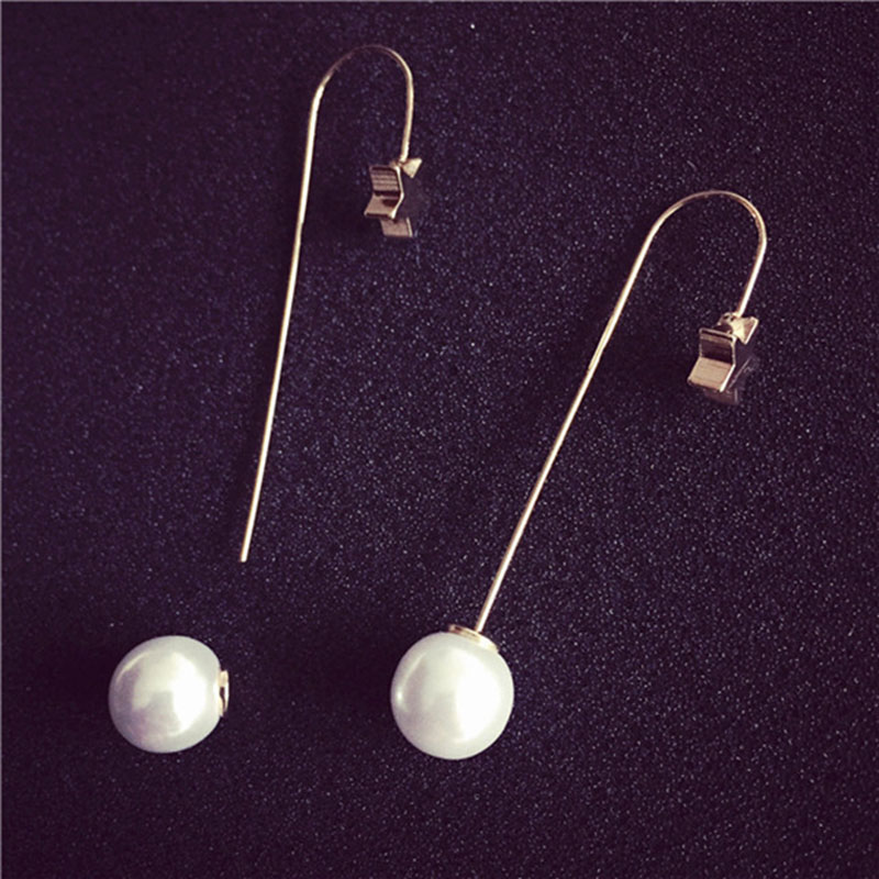 Long Pearl Earrings Trendy Fashion Star Shaped Imitation Pearl Earrings