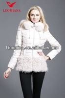 Womens in stock quality coat with white fox fur and cashmere hem