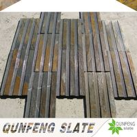 jiujiang qunfeng 2016 new slate product grooved surface stone wall panel from natural slate stone veneer factory