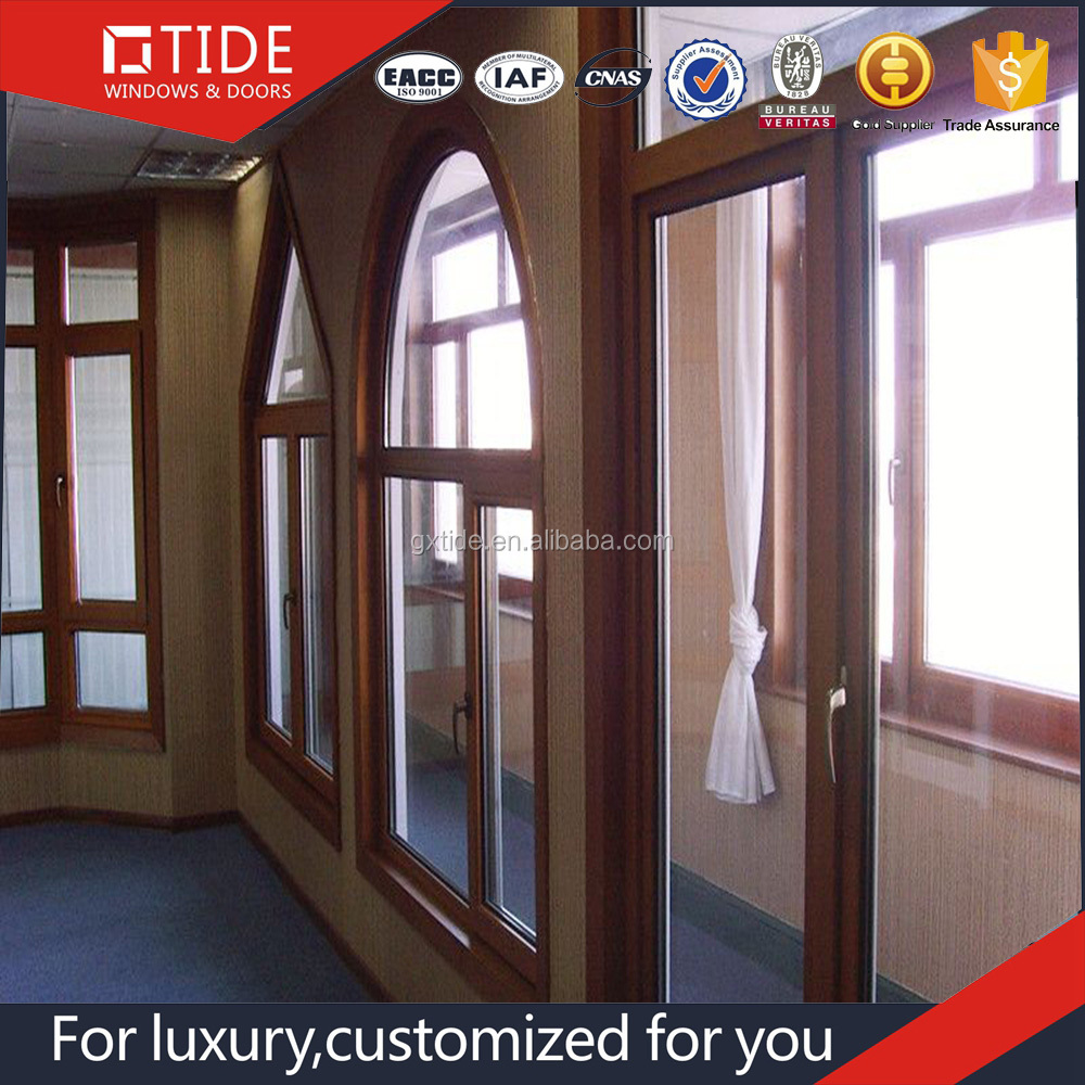Customized With Tempered Glass Aluminum Clad Wood Roto Hardware Swing Door