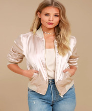 2018 New Hot selling Products Fashion Cheap Classic Ladies Long Sleeves Light Blush Satin Gold Zipper Puffer Bomber Jacket