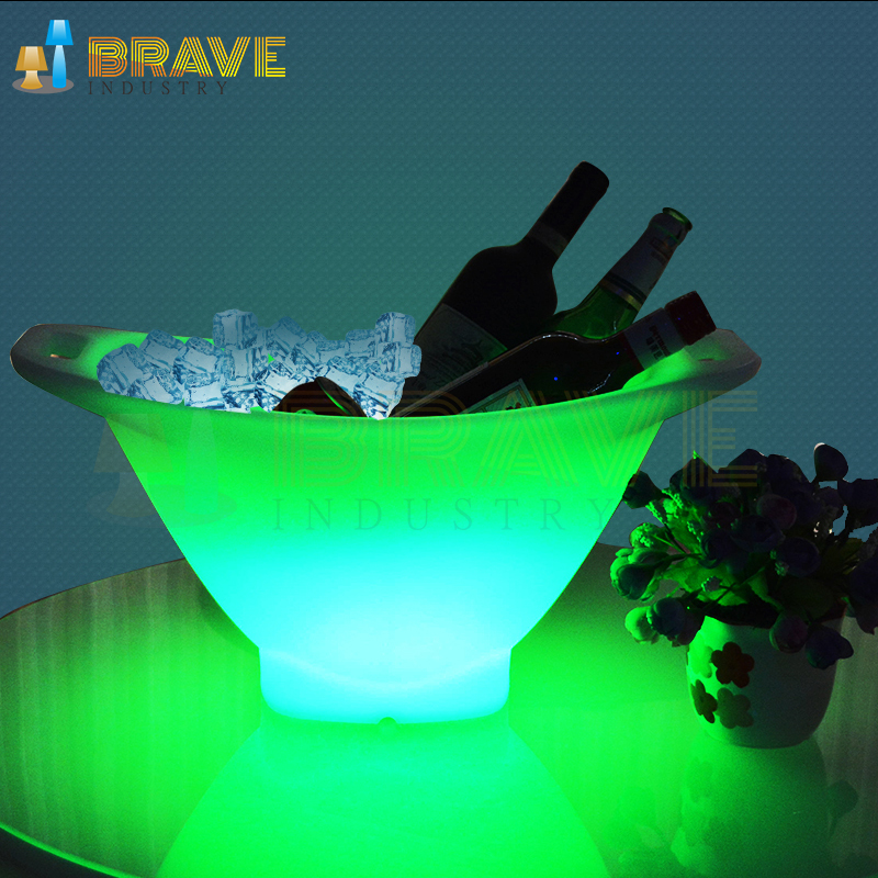 2019 New Design Champagne Large Plastic Morden Led Lighted Illuminate Ice Bucket