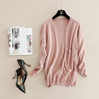New winter autumn winter style girl's pure color thin sweater with a big pocket 3406