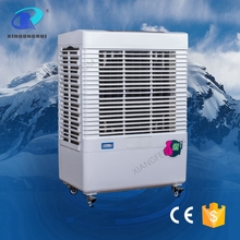 Summer cooling water spray with folding blades fan