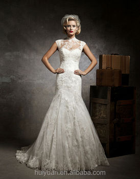 white elegant high neck lace ball gown custom made bridal gown