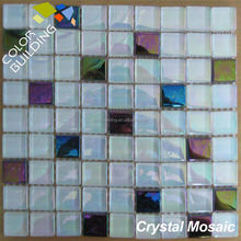 White Mixed Rainbow Color Crystal Glass Mosaic Tile from Foshan Factory