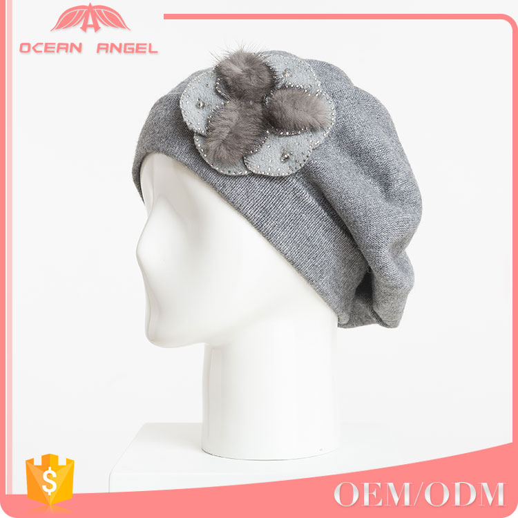 Customed design grey winter warm knit women plain beanies/hats/caps with flower