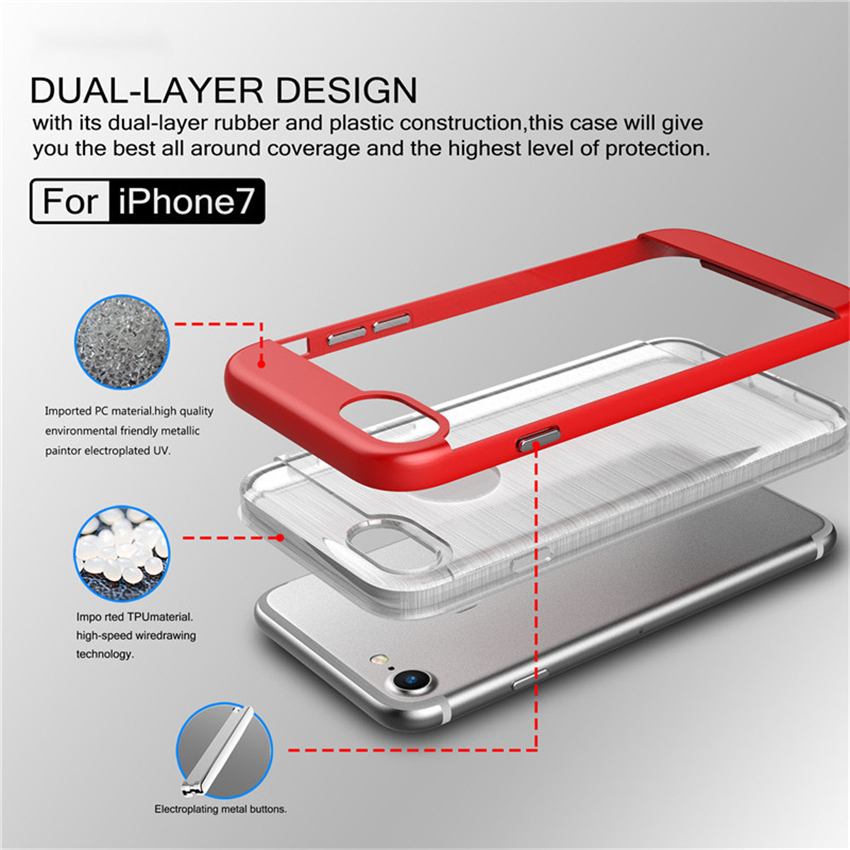 2017 Trending PC+TPU Heavy Duty Slim Armor Shockproof Case Cove Transparent Hairline For iphone 7 For iphone 6 For iphone