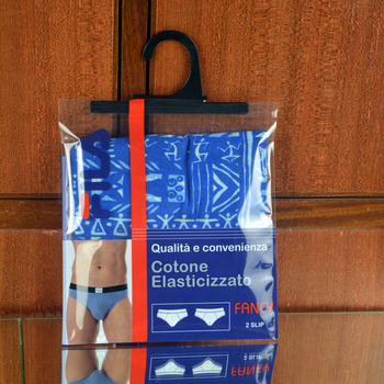 self adhesive Garments packaging bags with hook hanger
