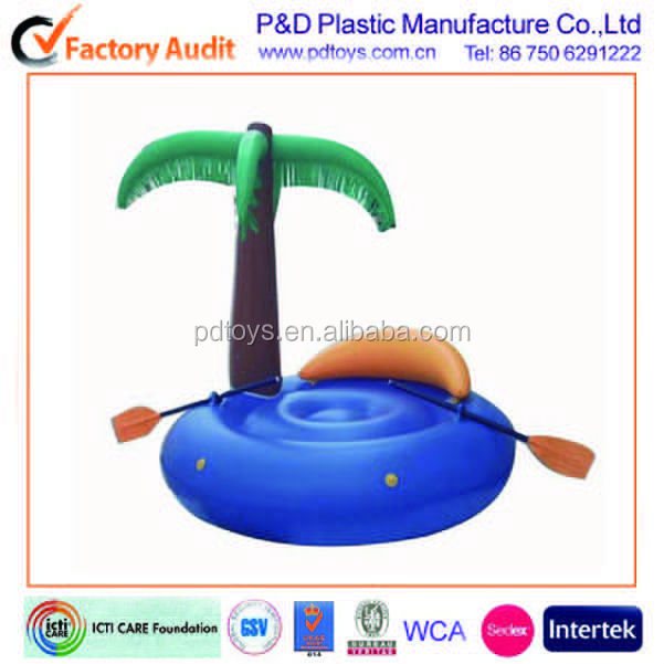 Heavy duty Custom Palm tree inflatable air floating island with oras