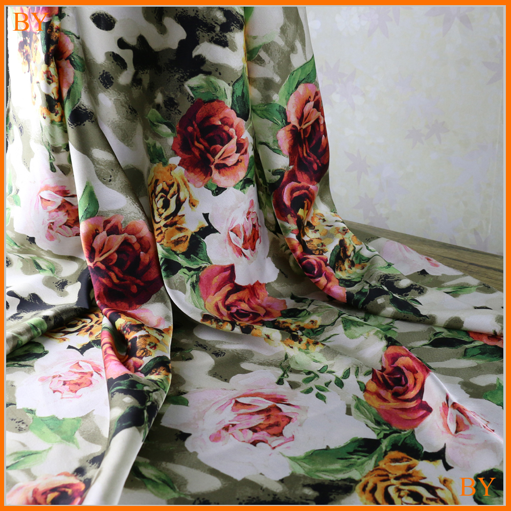 Digital Print Material Floral Crepe Satin Charmeuse Fabric Imitate Silk