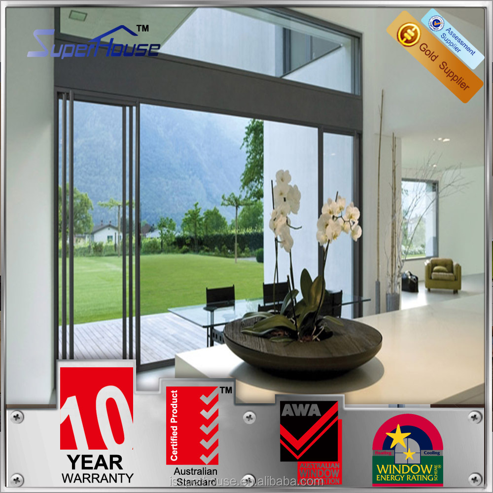 aluminum frames prevention of burglary sliding door with retractable glass for hotel