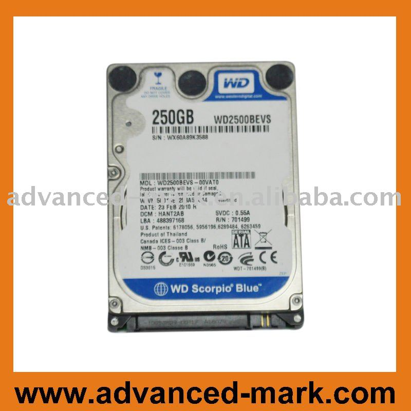 "2.5 "" SATA 250GB 5400 RPM Laptop Hard drive"