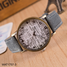 Personalized Messy Code Women Men Grey Denim Wrist Watch