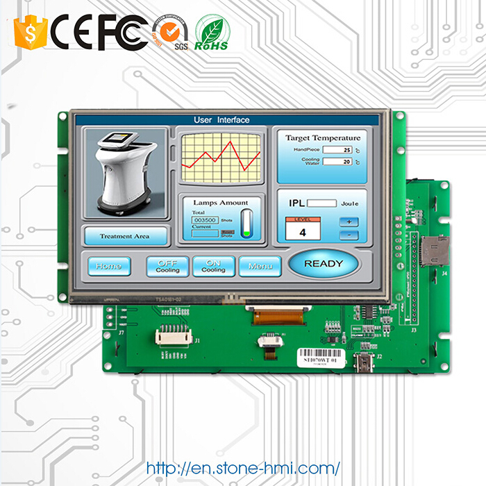 "High Brightness Sunlight Readable 7"" Embedded Programmable LCD for Industrial Use"